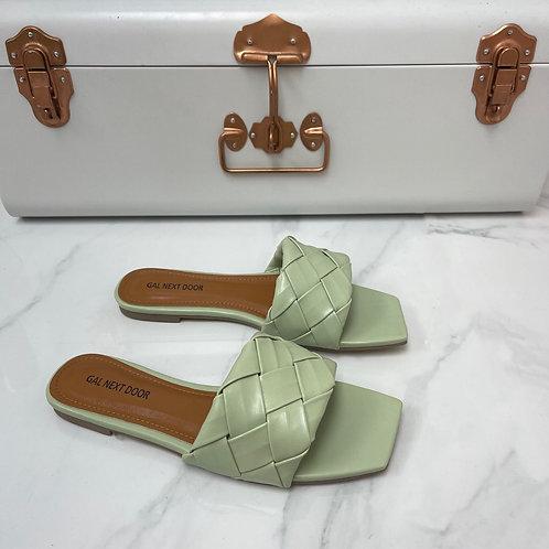 Freida - Sage Woven Detail Square Toe Flat Slip On Sandals