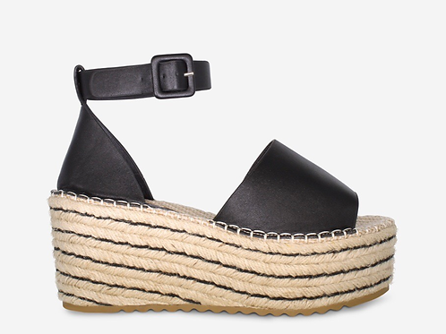 Millie - Black Ankle Strap Woven Sole Flatform Wedge Sandal