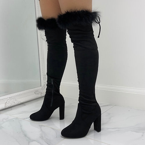 Kaitlyn  - Black Faux Suede with Fur Trim Over The Knee Tie Up Block Heel Boots