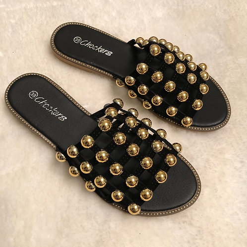 Elouise - Black Gold Ball Slider Sandals