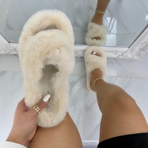 Bear - Cream Fluffy Crisscross Slip On Slider Slippers