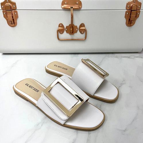 Meera - White Square Toe Gold Rectangle Detail Slip On Flat Sandal