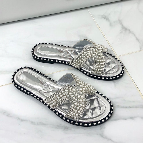 Shanice - Silver Diamanté and Pearl H Style Flat Slider Sandal