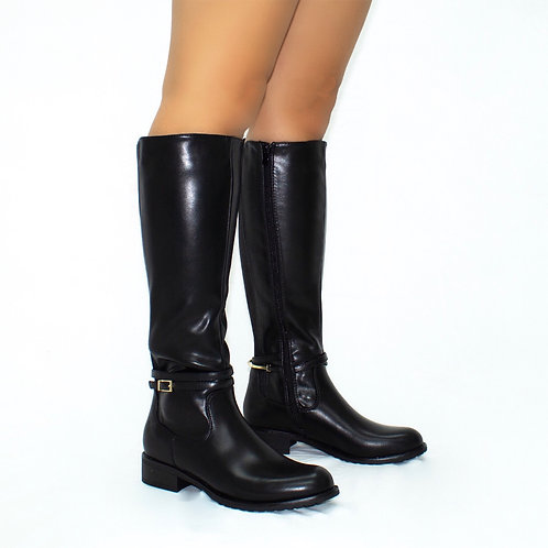 Joni - Black Faux Leather Gold Buckle Detail Flat Knee High Boots