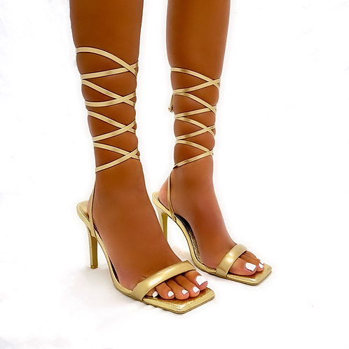 Camilla - Gold Metallic Croc Detail Barely There Tie-Up Low Mule Heels