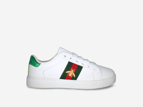 Bonnie - White Bee Green/Red Detail Trainer