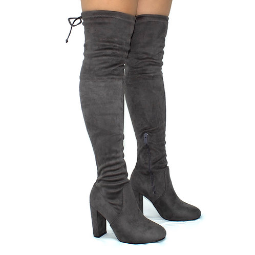 Kendall  - Grey Faux Suede Over The Knee Tie Up Block Heel Boots