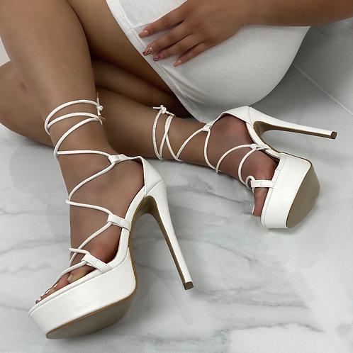 Cece - White Lace Up Platform Stiletto Heels