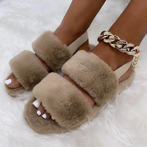 Kulture - Latte Double Stripe Fluffy Sling-Back Slippers