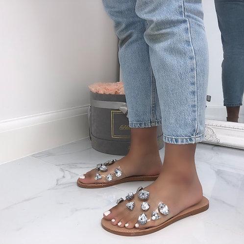 Jenifer - Perspex Silver Jewel Flat Slider Sandal