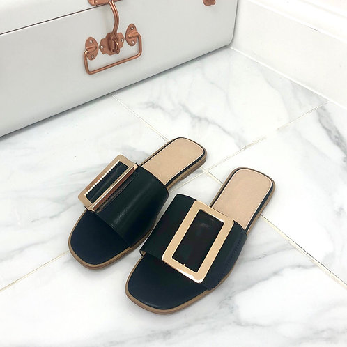 Meera - Black Square Toe Gold Rectangle Detail Slip On Flat Sandal