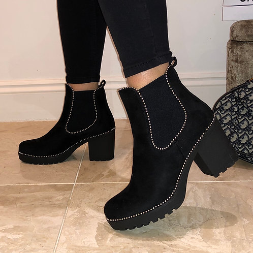 Camilla - Black Faux Suede Silver Ball Low Block Heel Ankle Boot