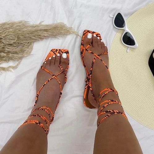 Janet - Neon Orange Snake Print Tie Up Flat Sandals