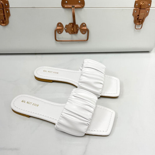 Persia - White Ruched Square Toe Flat Sandals