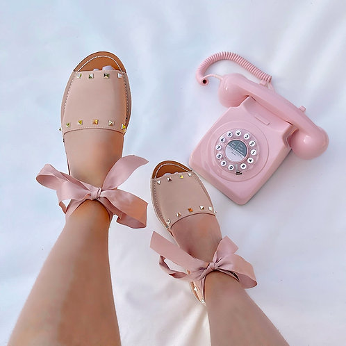 Charlie - Nude Studded Tie-Up Flat Sandals