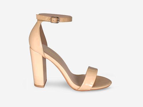Hannah - Nude Patent Strap Block Heel