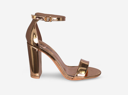 Hannah - Rose Gold Strap Block Heel