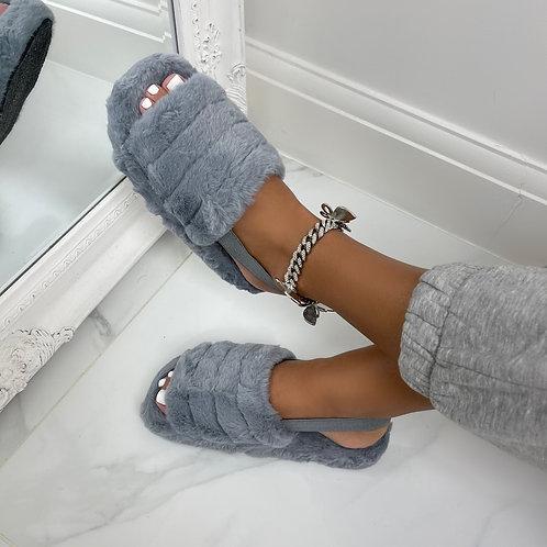 Sky - Grey Fluffy Sling Back Slider Sandals
