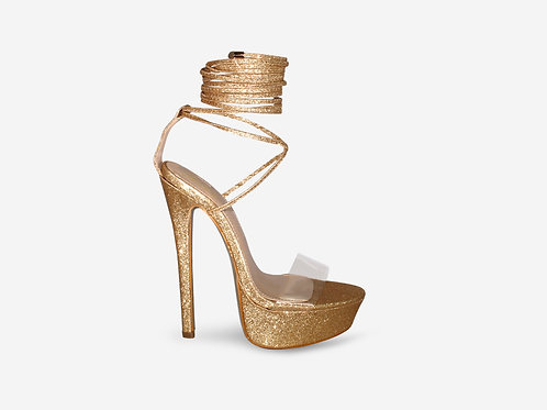 Tarsha - Gold Glitter Tie Up Platform Heel