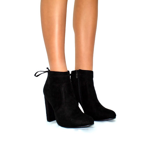 Naomi - Black Faux Suede Rounded Toe Block Heel Ankle Boots