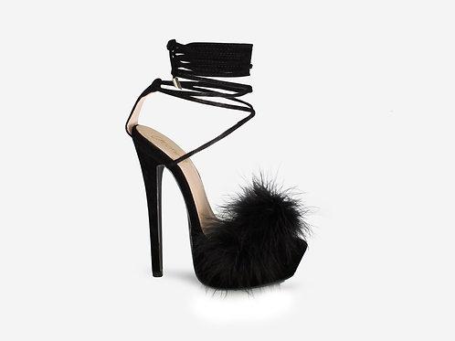 Veronica – Black Faux Suede Fluffy Tie Up Platform Heel
