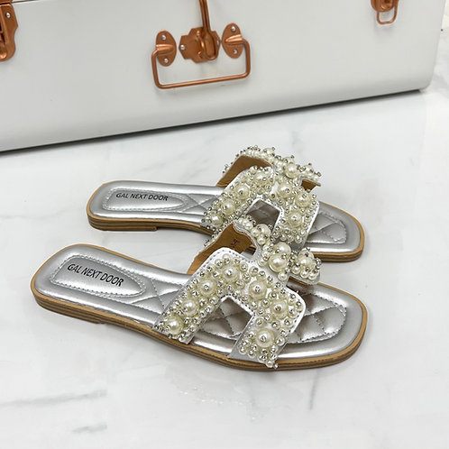 Penelope - Silver with Pearl H Style Square Toe Slip On Sandals