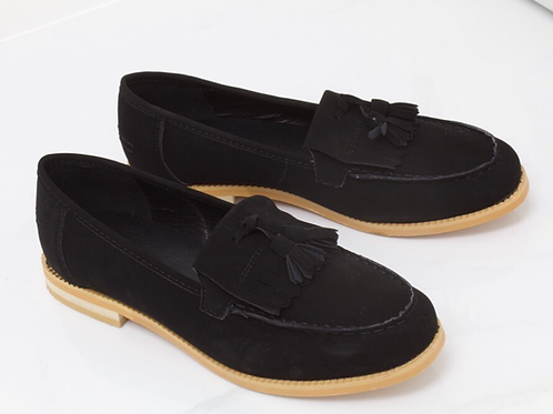 Ava - Black Faux Nubuck Tassle Loafer