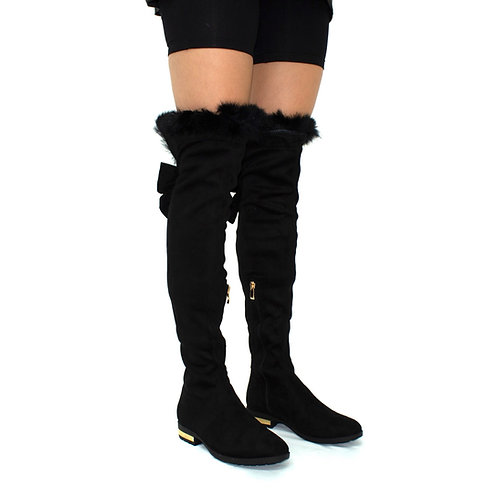 Kehlani- Black Faux Suede Bow Detail Thigh-High w/ Gold Tie-Up Fluff Trim Boots