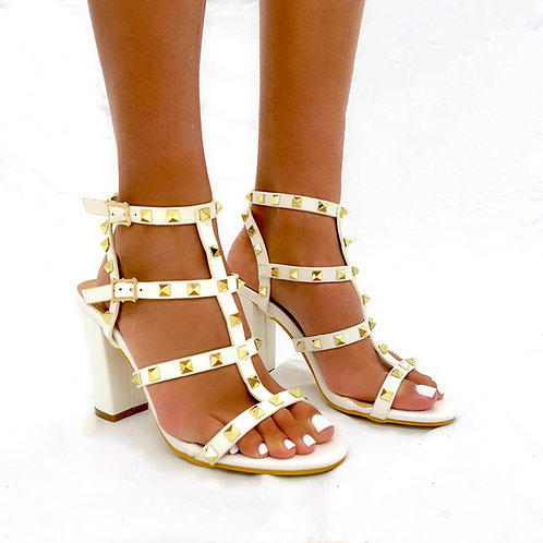 Roxanne - White Strappy with Gold Stud Detail Block Heels
