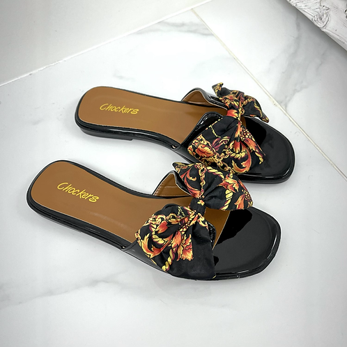 Pattie - Black Patent with Chain Print Silk Scarf Bow Slip On Sandals