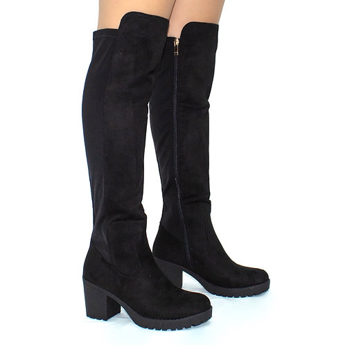 Amy - Black Suede W/ Lycra Stretch and Gold Detail Knee High High Boots
