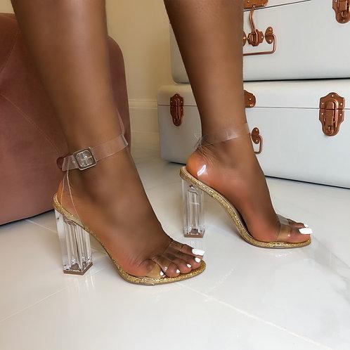 Mila - Gold Glitter Perspex Block Heel