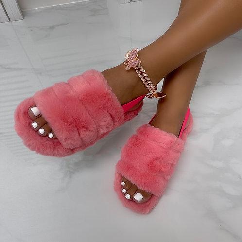 Sky - Fuchsia Fluffy Sling Back Slider Sandals