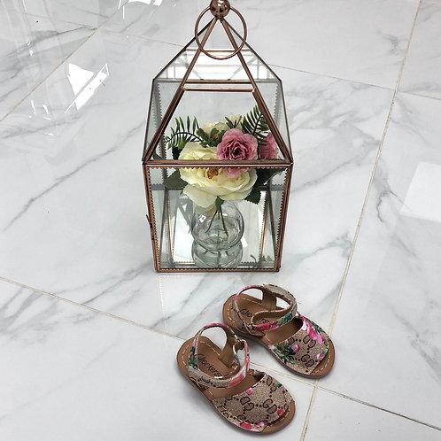 Baby Aariya -  Brown with Pink Flowers Strap On Sandal