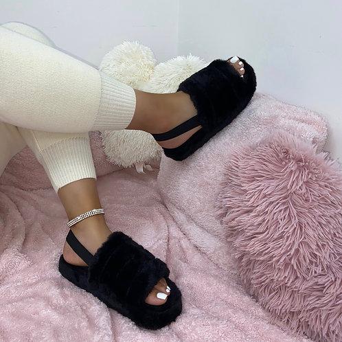 Sky - Black Fluffy Sling Back Slider Sandals