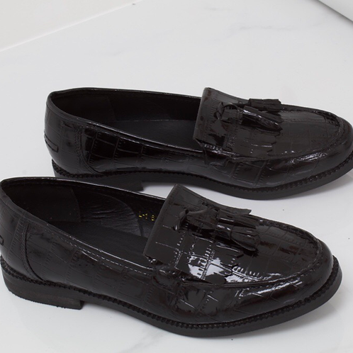 Ava - Black Patent Croc Print Tassle Loafer
