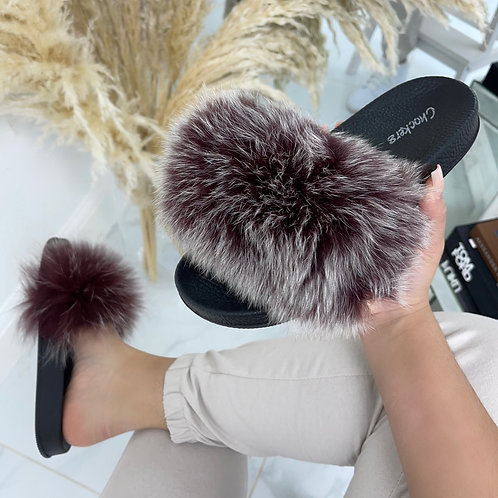 Celine - Burgundy/ Grey Faux Fur Fluffy Sliders