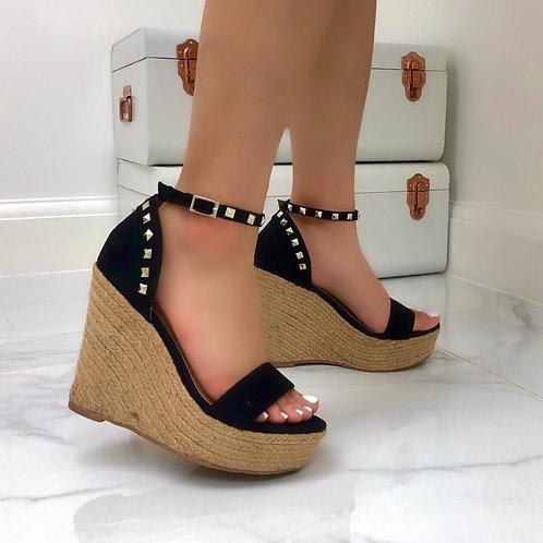Liza - Black Faux Suede Studded Woven Platform Wedge Sandal