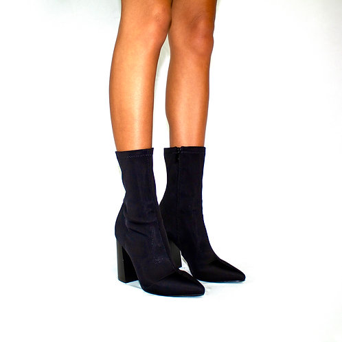 Ursula- Black Lycra Pointed Toe Block Heel Ankle Boots