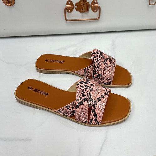 Angela - Pink Snake Print Strappy Knot Square Toe Flat Slip On Sandal