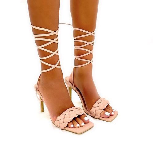 Angelica - Nude Woven Detail Tie-Up Low Mule Heels