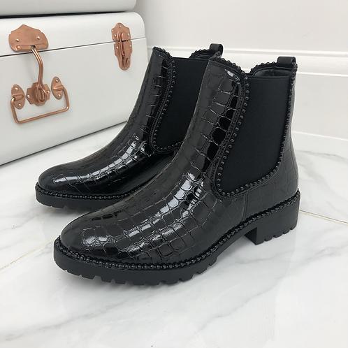 Hailey - Black Patent Croc Print Black Ball Ankle Chelsea Boots
