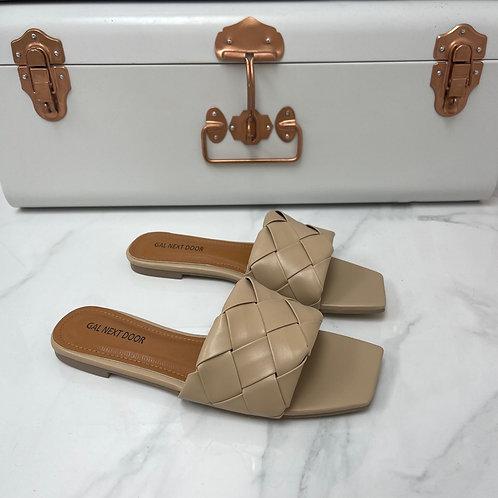 Freida - Beige Woven Detail Square Toe Flat Slip On Sandals