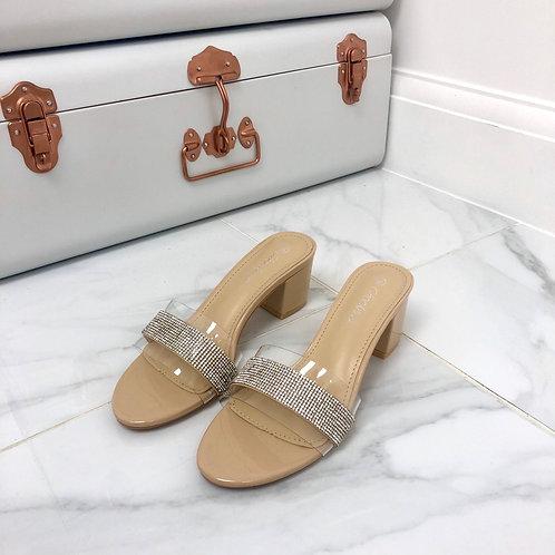 Emilie - Nude Patent Perspex Diamante Strip Low Block Heel