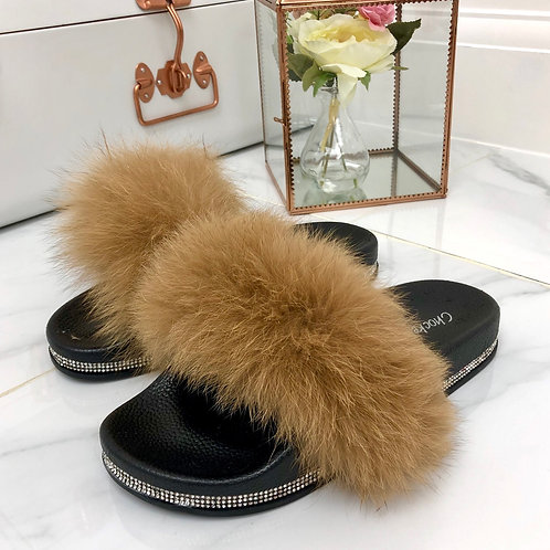 Ellie - Camel Vegan Fur Fluffy Sliders With Diamanté Sole
