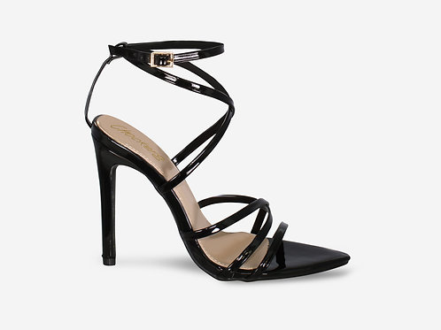 Nessa - Black Patent barely There Pointed Toe Heel