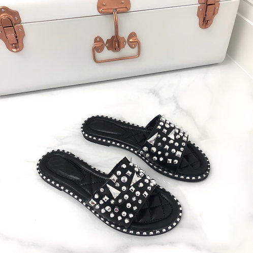 Rosie - Black and Silver Studded Slip On Slider Sandal