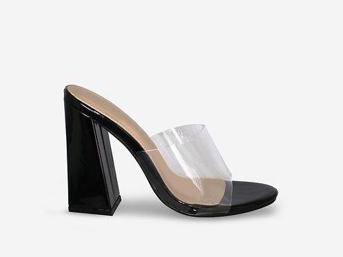 Tiffany – Black Patent Perspex Mule Block Heel