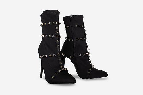 Jai - Black Lycra with Black Studs Pointed Toe Stiletto Heel Sock Boots