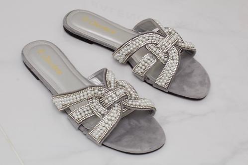 Lexi - Grey Faux Suede Silver Diamanté Pearl Detail Slider Sandals